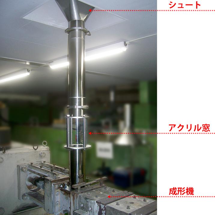 シュート配管、原料飛散防止の局所排気事例