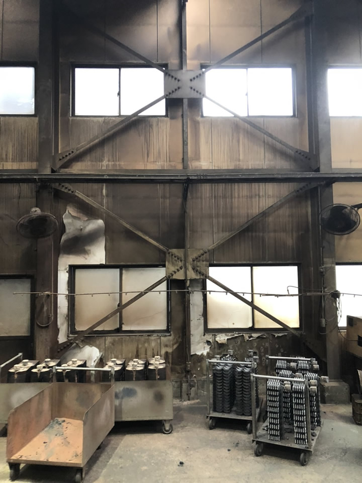 鋳物工場の鋳物冷却中の排熱で問題解決